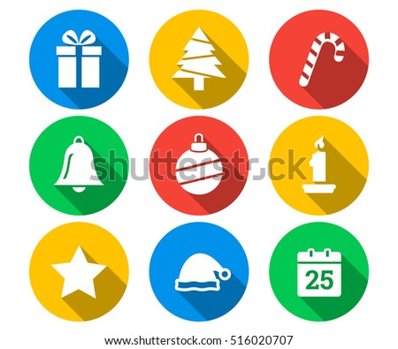 Flat icon set of Christmas