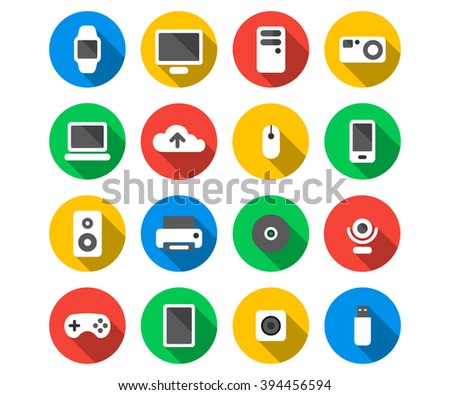 Flat icon set of technology devices