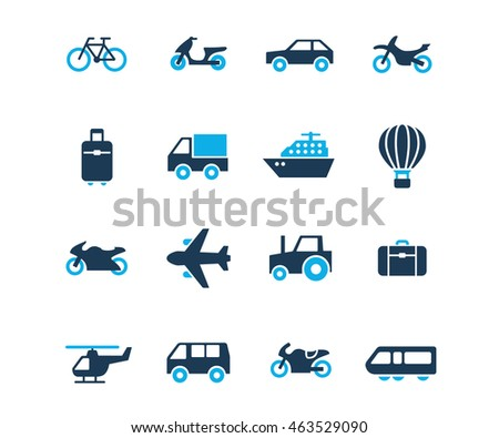 Flat icon set of travel and transport