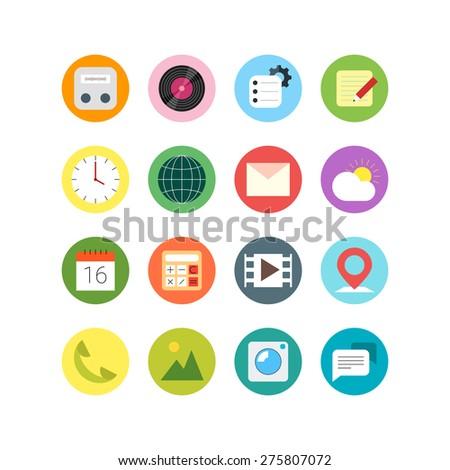 flat icon set phone apps