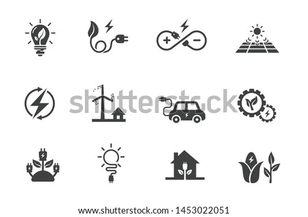 flat icon set related to renewable energy, source of energy