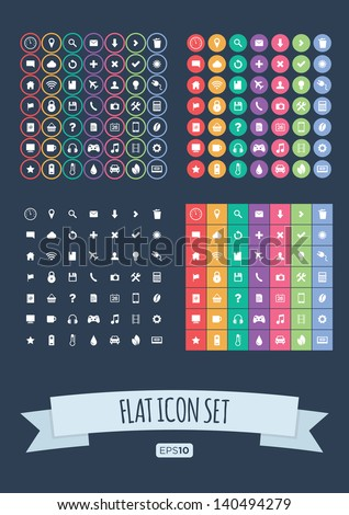 flat icon set   vector