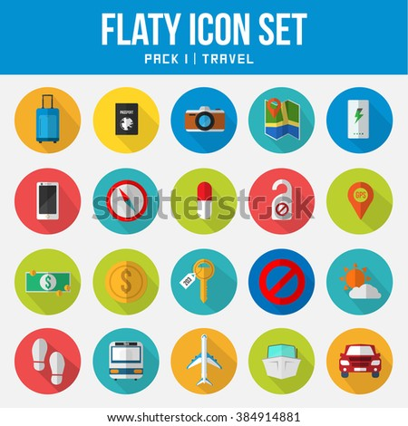 Flat Icon sets pack Travel Photo stock ©