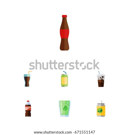 flat icon soda set of bottle