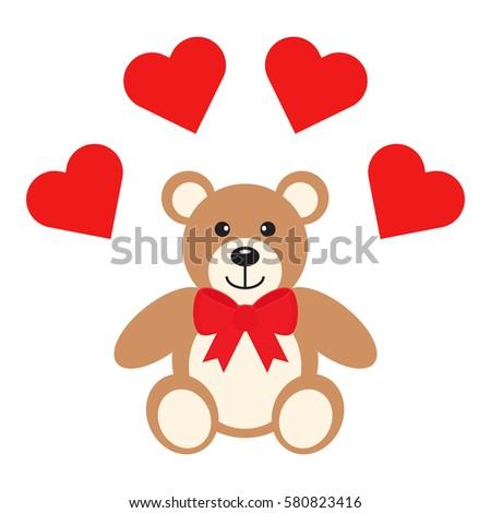 flat icon teddy bear with