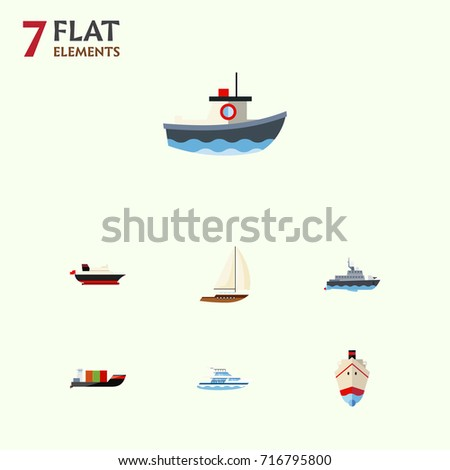 Flat Icon Vessel Set Of Cargo, Delivery, Yacht And Other Vector Objects. Also Includes Vessel, Boat, Transport Elements.