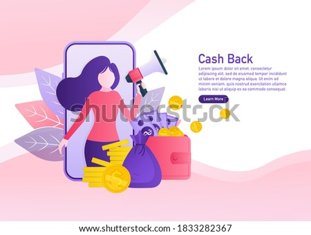 Flat icon with cash back people for concept design. Cash back concept in flat style. Vector illustration. Stockfoto ©