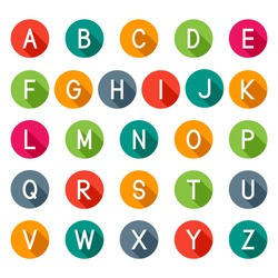 Flat icons alphabet, Latin alphabet letters with long shadow, isolated on white background, vector illustration.