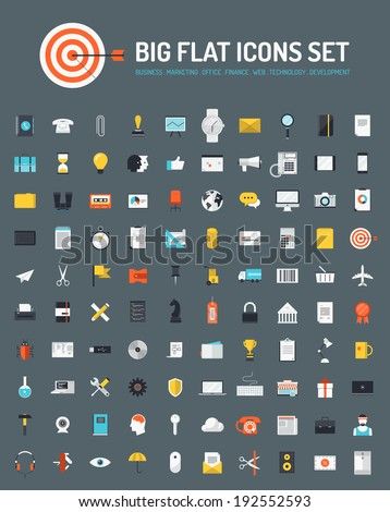 Flat icons big set of business and marketing objects, office and working equipment, communication and technology items, finance and internet commerce pictogram. Modern design vector symbol collection.