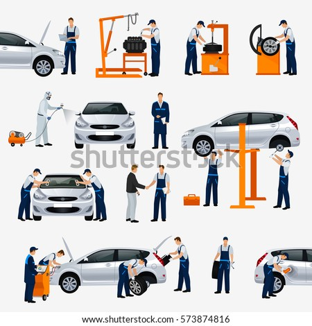Flat icons car repair service, different workers in the process of repairing the car, tire service, diagnostics, vehicle painting, window replacement spare parts. Vector illustration