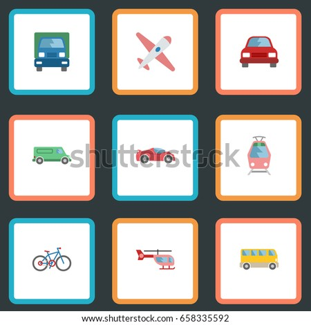 Flat Icons Chopper, Automobile, Aircraft And Other Vector Elements. Set Of Vehicle Flat Icons Symbols Also Includes Freight, Tram, Airplane Objects.