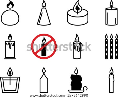 Flat icons Christmas candles isolated on white background. Icons candles set. Candles collection. Silhouettes of candles isolated on white background