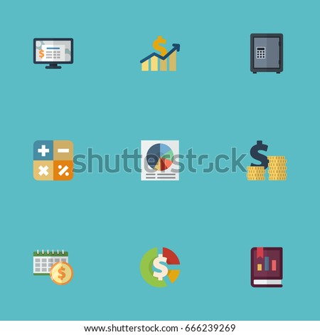 Flat Icons Coins Pile Accounting System Stock And Other Vector Elements Set Of