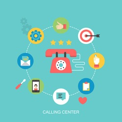 Flat icons design for calling center and customer support concept