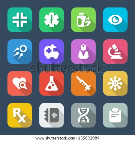 flat icons for medicine. sixteen colors
