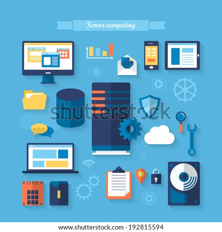 Flat icons for server computing concept. Vector illustration
