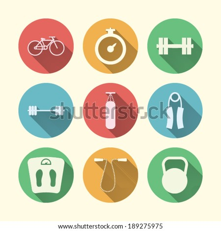 Flat icons for sport. Nine circle colored icons for sport on white.