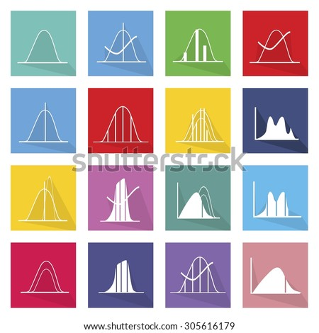 Flat Icons, Illustration Set of 16 Gaussian, Bell or Normal Distribution Curve Icon Labels.