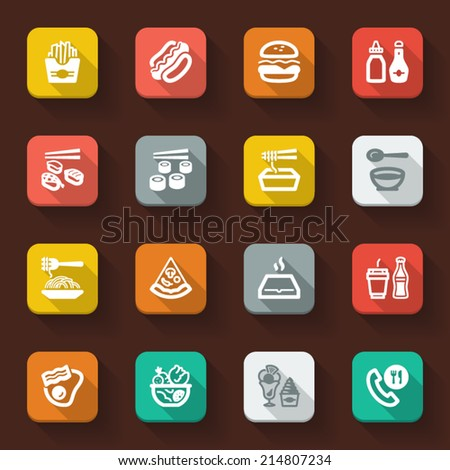 flat icons in a square with