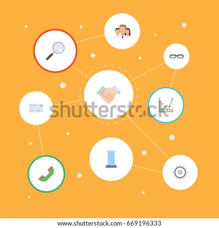 Flat Icons Magnifier, Diagram, Group And Other Vector Elements. Set Of Job Flat Icons Symbols Also Includes Search, Cog, Deal Objects.