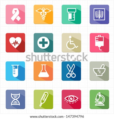 Flat icons medicine healthcare and white background