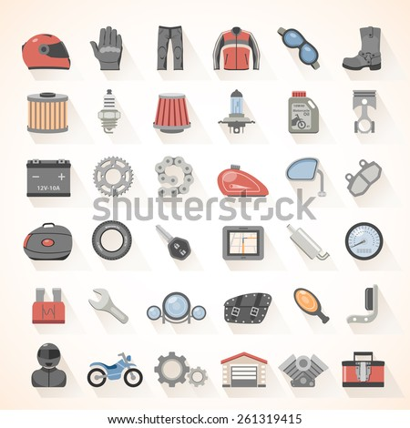 flat icons   motorcycle gear