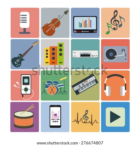 Flat icons music set. Musical instruments. Flat design
