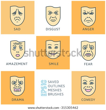 flat icons of emotions set. Emotion and expression masks, smile funny and angry, vector illustration