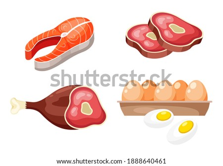 Flat icons of raw meat, fish and eggs, animal sources of protein. High protein foods set on white background. Product group beefsteak, salmon steak, ham hind quarter, box with egg. Healthy diet food