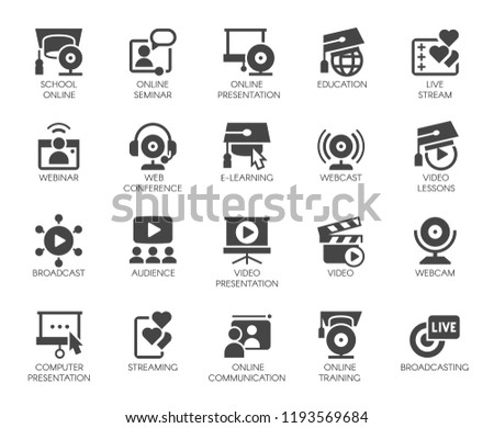 Flat icons of webinars, online education. web conferences, remote video meetings. Modern Internet technologies and communications label series. Global network concept set. Vector illustration isolated