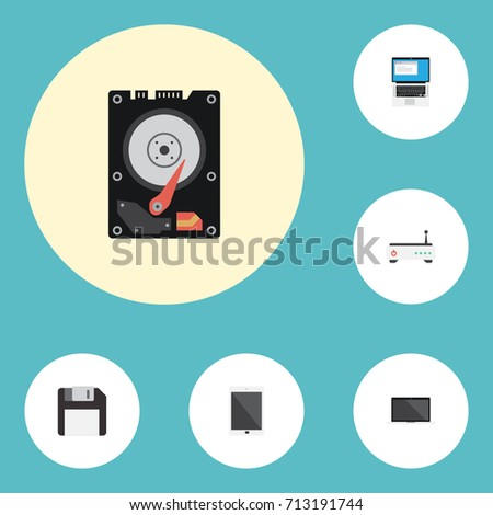 Flat Icons Palmtop, Hard Disk, Diskette And Other Vector Elements. Set Of PC Flat Icons Symbols Also Includes Floppy, Tablet, Keyboard Objects.