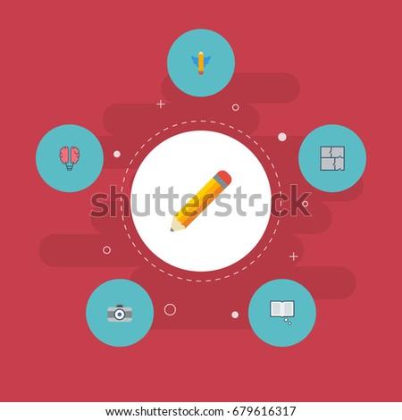 flat icons photo  scheme  bulb