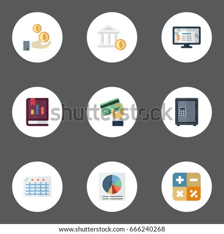 Flat Icons Pie Bar Book Accounting System And Other Vector Elements Set Of