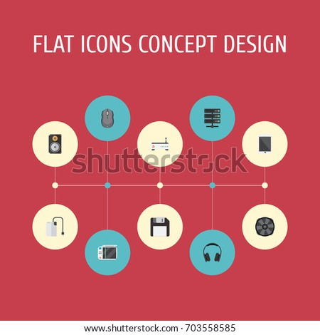 Flat Icons Router, Storage Device, Earphones And Other Vector Elements. Set Of PC Flat Icons Symbols Also Includes Palmtop, Game, Modem Objects.