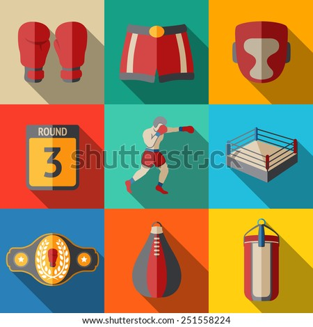 Flat icons set - boxing - gloves, shorts, helmet, round card, boxer, ring, belt, punch bags. Vector