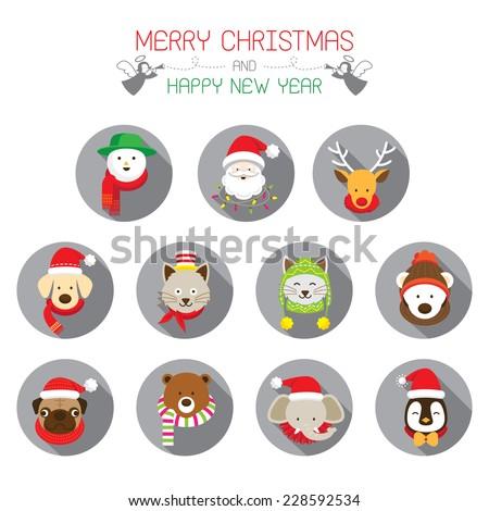 flat icons set    christmas
