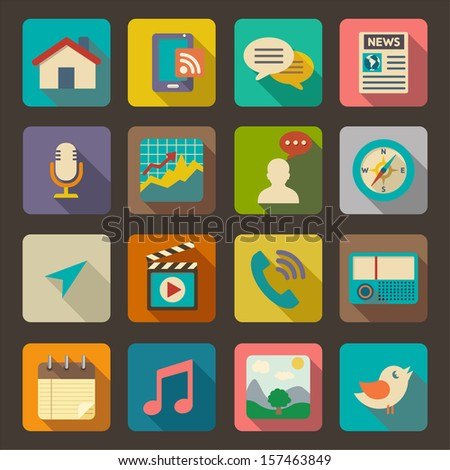 flat icons set for web and
