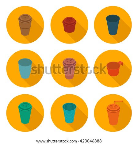 flat icons set isometric color plastic Cup in vector format eps10 #423046888