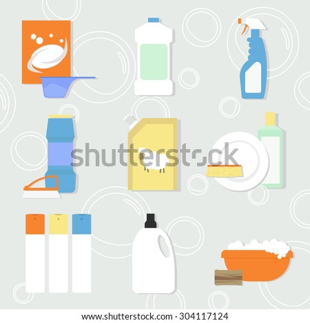 flat icons set of detergents