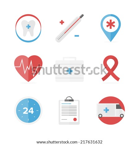 flat icons set of first aid kit