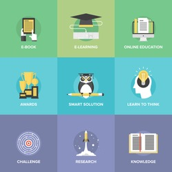 Flat icons set of online education, smart ideas and thinking symbol, electronic learning process, awards winning, knowledge and wisdom elements. Modern design style vector illustration concept.