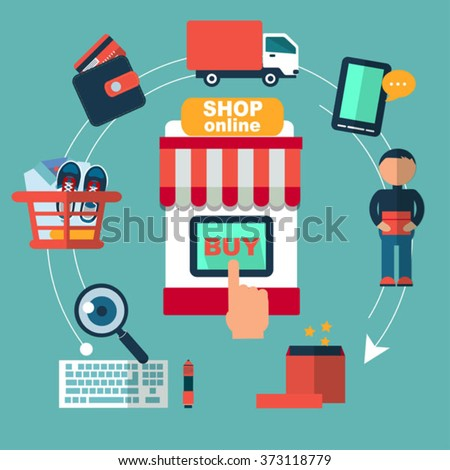 flat icons set of online shopping internet  infographic design elements vector illustration