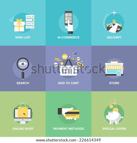 Flat icons set of online shopping services e-commerce checkout payments add to cart elements worldwide delivery web commerce search optimization Flat design modern vector illustration concept