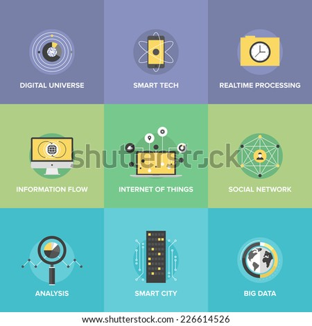 Flat icons set of smart futuristic communication, internet of things technologies, global digital social network connection, big data analytics. Flat design style modern vector illustration concept.