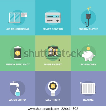 Flat icons set of smart house technology system with centralized control of lighting, heating, ventilation and air conditioning, energy savings. Flat design style modern vector illustration concept.