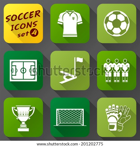 Flat icons set of soccer elements Collection of symbols for association football Qualitative vector EPS-10 icons about soccer sport game championship gameplay etc