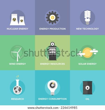 flat icons set of world energy
