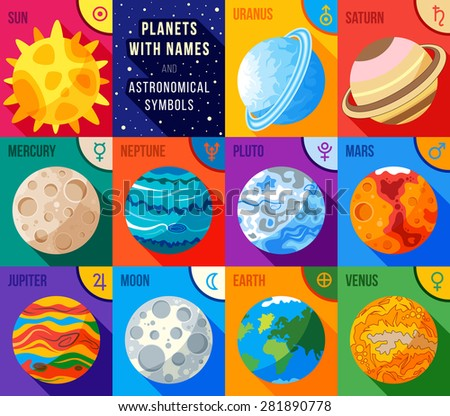 flat icons set   planets with
