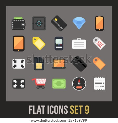 Flat icons set 9 - shopping and finance collection