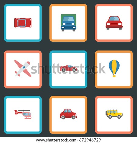Flat Icons Truck, Automotive, Chopper And Other Vector Elements. Set Of Auto Flat Icons Symbols Also Includes Plane, Car, Helicopter Objects.
